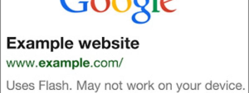 Google upozorňuje na stránky s Flash-om